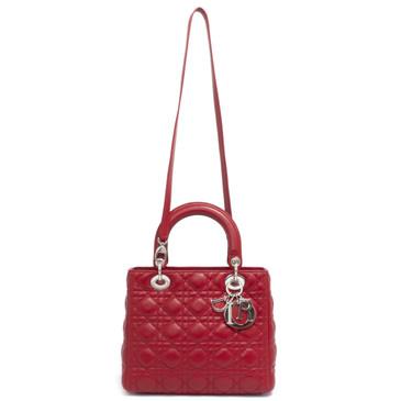 Christian Dior Red Lambskin Medium Lady Dior