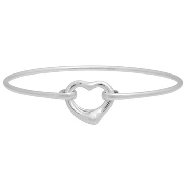 Tiffany & Co. Sterling Silver Open Heart Bangle