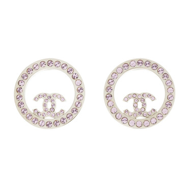 Chanel CC Crystal Circle Stud Earrings