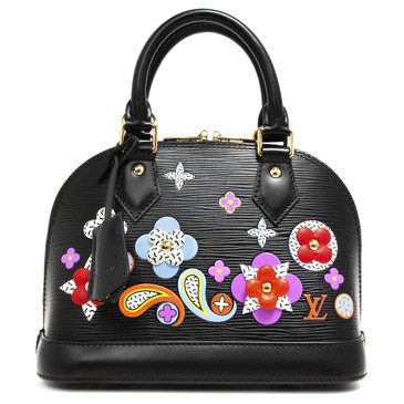 Louis Vuitton Noir Epi Flowers Alma BB