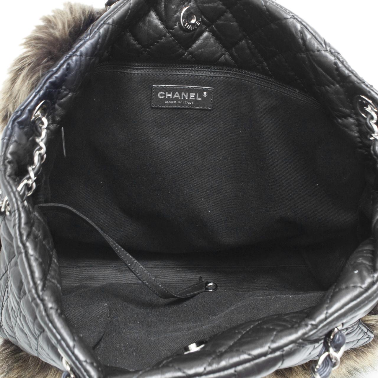 541088fc6124a1 Chanel Black Aged Calfskin Fantasy Fur Karl's Cabas Tote - modaselle