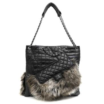 Chanel Black Aged Calfskin Fantasy Fur Karl's Cabas Tote