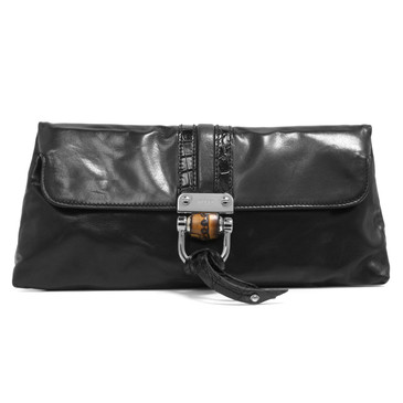 Gucci Black Smooth Calfskin Bamboo Croisette Clutch