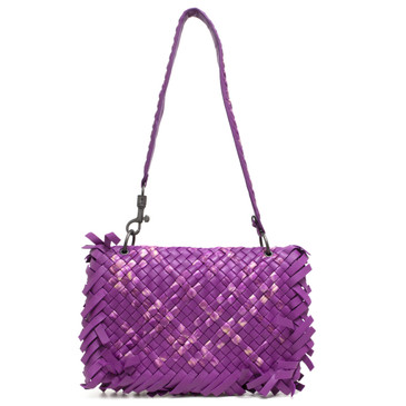 Bottega Veneta Fuchsia Tie-Dye Intrecciato Fringe Shoulder Bag