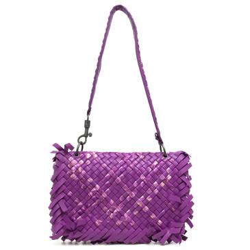 Bottega Veneta Fuchsia Tie-Dye Intrecciato Fringe Shoulder Bag