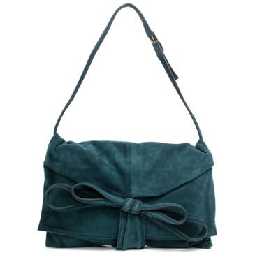 Valentino Teal Suede Bow Shoulder Bag