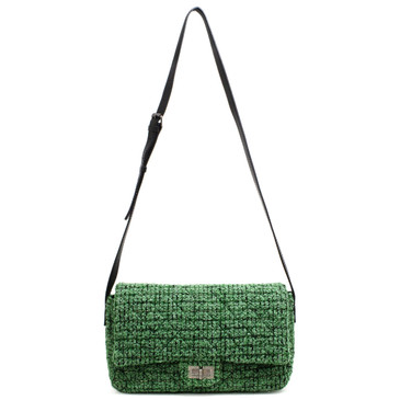 Chanel Green Easy Tweed Jumbo Flap Bag