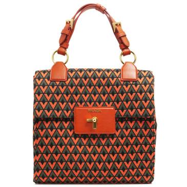 Prada Tessuto Jacquard Pattina Top Handle Bag
