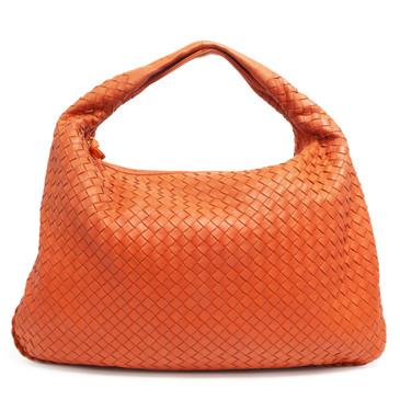 Bottega Veneta Orange Intrecciato Medium Veneta Hobo