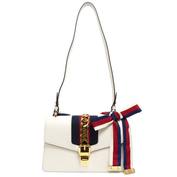Gucci White Calfskin Small Sylvie Shoulder Bag