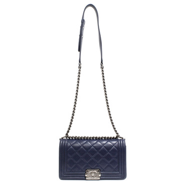 Chanel Navy Quilted Lambskin Medium Boy Bag