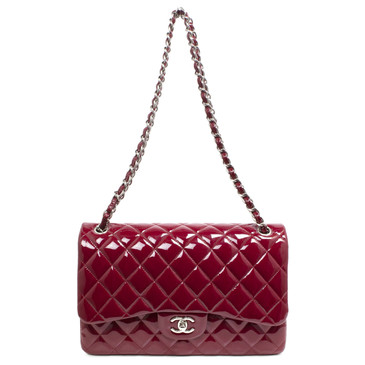 Chanel Burgundy Quilted Patent Leather Jumbo Classic Double Flap