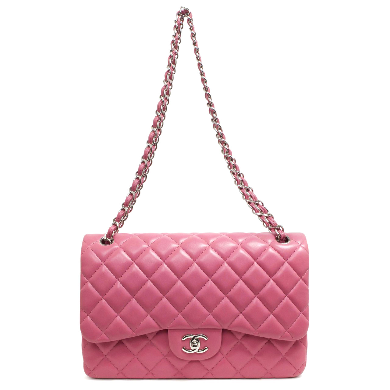 49f677f56ec9 Chanel Pink Quilted Lambskin Jumbo Classic Double Flap - modaselle
