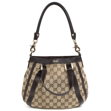 Gucci Brown GG Canvas Small Abbey Convertible Hobo