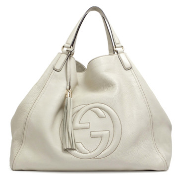Gucci Ivory Pebbled Calfskin Soho Large Tote