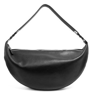 Salvatore Ferragamo Black Leather Half Moon Hobo