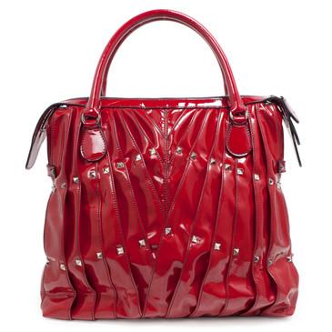 0197cf9b504ada Valentino Garavani Red Patent Maison Pintucked Shopper Tote
