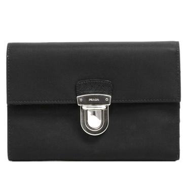 Prada Nero Tessuto Flap Wallet