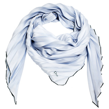 Christian Dior Blue Pleated Silk Scarf