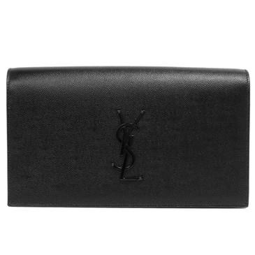 Saint Laurent Black Grained Calfskin Classic Monogram Clutch