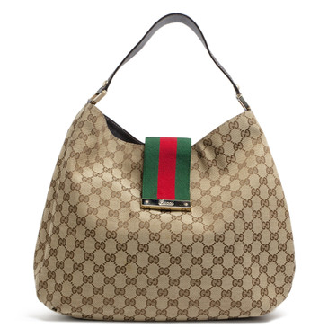 Gucci Monogram Large New Ladies Web Hobo