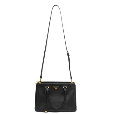 Prada Black  Saffiano Lux Small Galleria Double Zip Tote