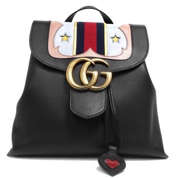 Gucci Black Calfskin GG Marmont Backpack