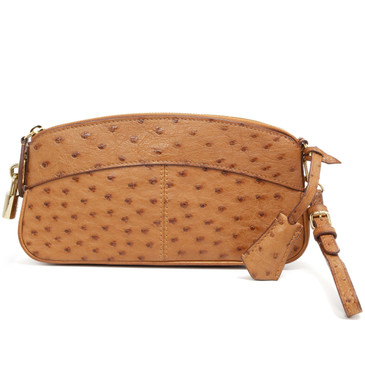 Louis Vuitton Cognac Ostrich Lockit Clutch