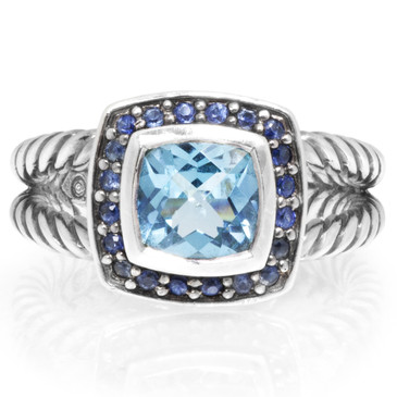 David Yurman Sterling Silver, Topaz & Sapphire Petite Albion Ring