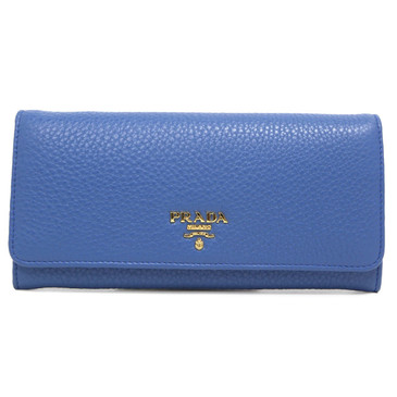 Prada Cobalto Vitello Phenix Continental Flap Wallet