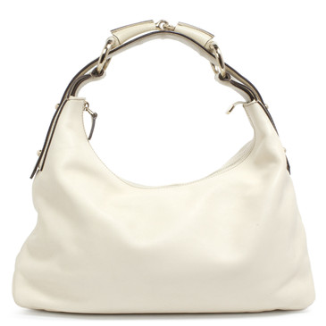 960b4ffdbbe962 Gucci Ivory Calfskin Medium Horsebit Chain Hobo