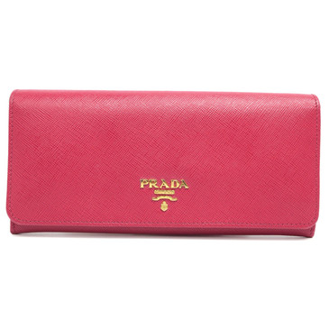 Prada Fuxia Saffiano Leather Continental Flap Wallet