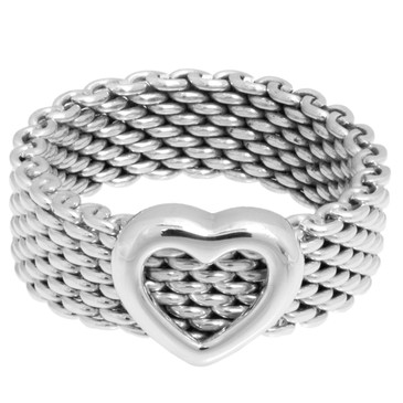 Tiffany & Co. Sterling Silver Heart Mesh Ring
