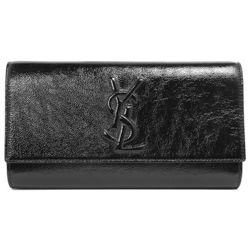 Yves Saint Laurent Black Patent Large Belle de Jour Clutch