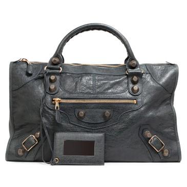 Balenciaga Anthracite Lambskin Giant 21 Rose Gold Work Bag