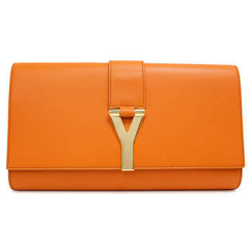 Yves Saint Laurent Orange Calfskin Classic Y Ligne Clutch