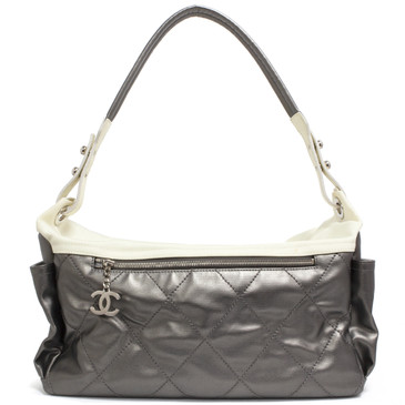 Chanel Silver Coated Canvas Paris Biarritz Hobo
