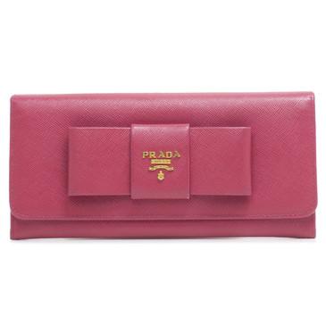 Prada Pink Saffiano Continental Bow Wallet