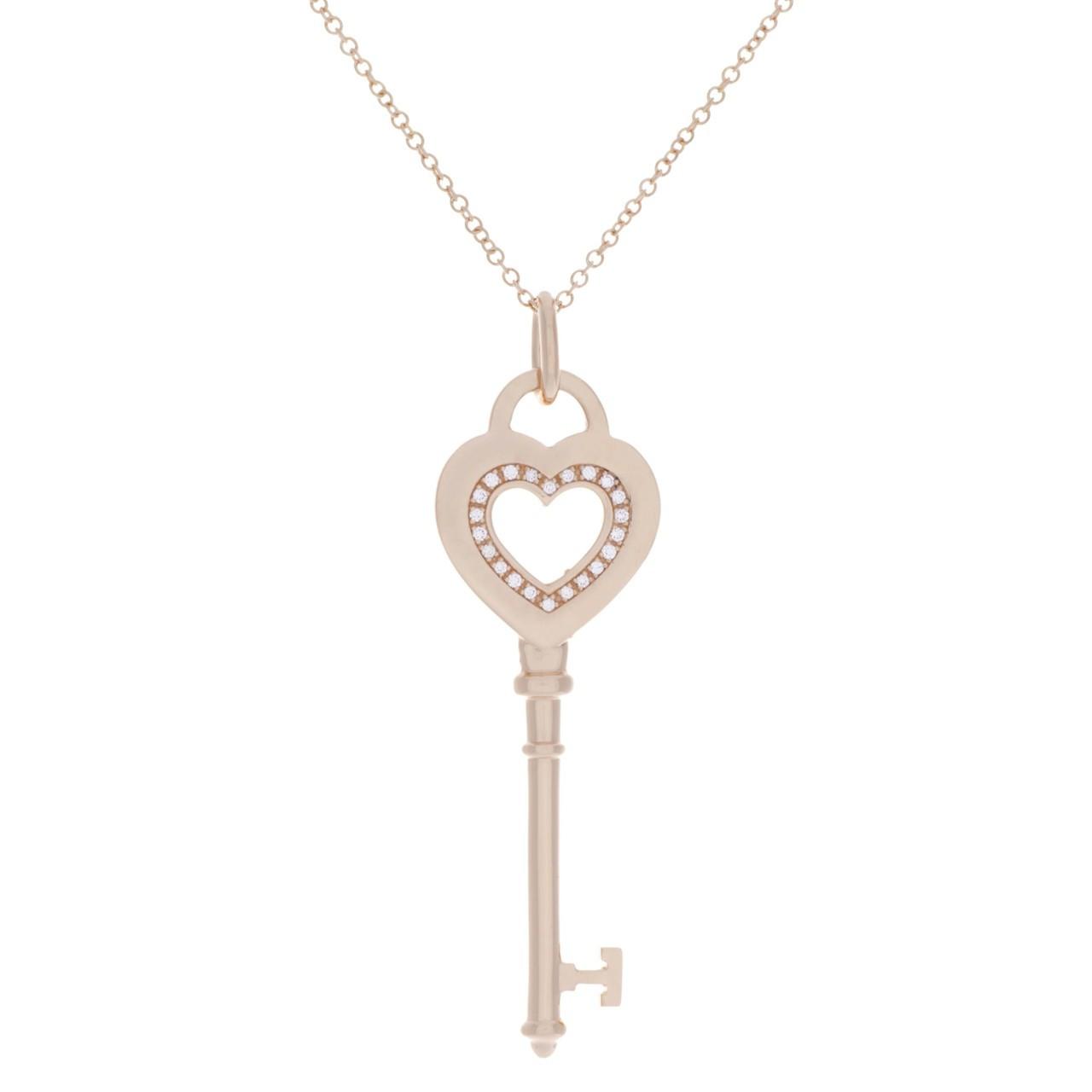 5500be08a Tiffany & Co 18K Rose Gold & Diamond Heart Key Pendant - modaselle