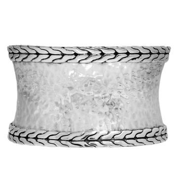 John Hardy Sterling Silver Palu Macan Hammered Wide Cuff Bracelet