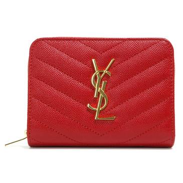 Saint Laurent Red Matelasse Leather Compact Zip Around Wallet
