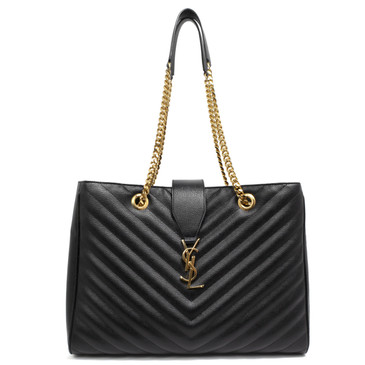 Saint Laurent Black Grain de Poudre Matelasse Chevron Monogram Shopping Tote