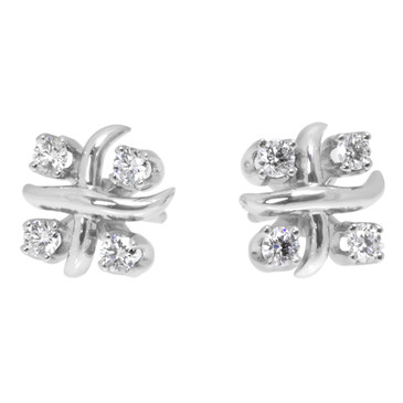 Tiffany & Co. Platinum & Diamond Schlumberger Lynn Earrings
