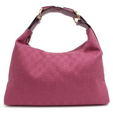 Gucci Pink Monogram Canvas Medium Horsebit Chain Hobo