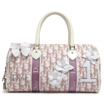 Christian Dior Pink Monogram Girly Flowers Boston Bag