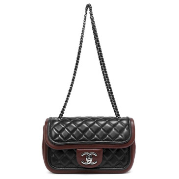 Chanel Black & Burgundy Quilted Lambskin Classic Twist Mini Flap