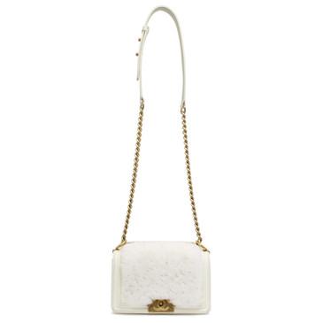 Chanel White Lambskin & Rabbit Fur Small Boy Bag