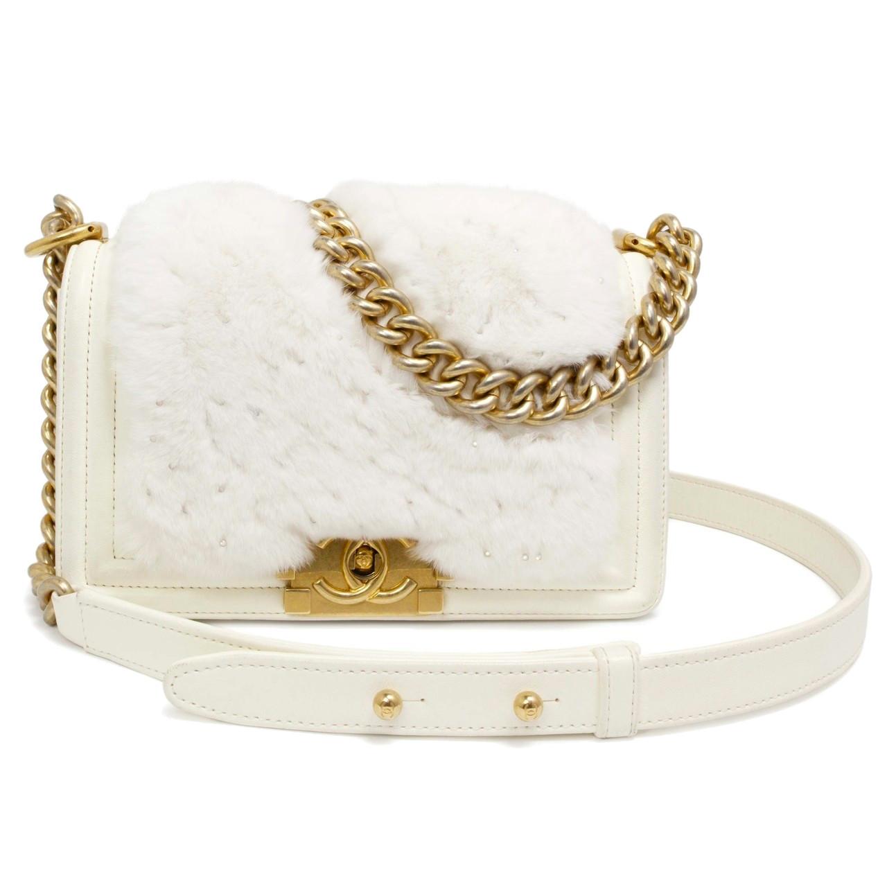 490c4982b9e5 Chanel White Lambskin & Rabbit Fur Small Boy Bag - modaselle