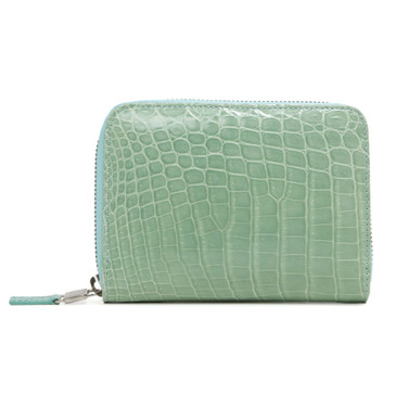Tiffany & Co. Teal Crocodile Smart  Zip Wallet