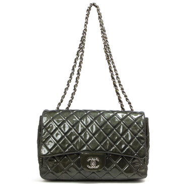 Chanel Metallic Graphite Patent Jumbo Single Flap
